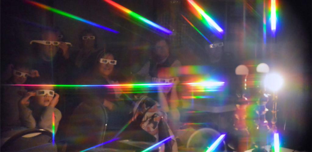 student exploring prism